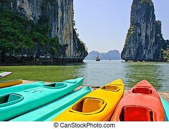 kayaks, kleurrijke