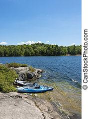 kayaks, lago, norte