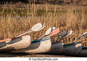 Kayaks ready to go