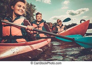 kayaques, feliz, grupo, gente
