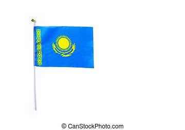 Kazakh flag isolated on white background. Copyspace
