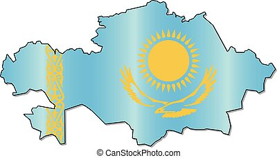 Kazakh flag map