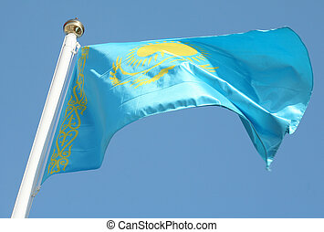 Yes, this is the flag of the glorious nation of Kazakhstan.