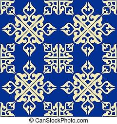 Kazakh nomadic tribes on background - Ethnic patterns. ...