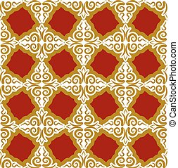 Kazakh pattern. Traditional national background of Kazakhstan. Texture ornament peoples of Central Asia. Ethnic national pattern for fabrics