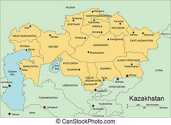 Kazakhstan, editable vector map broken down by administrative districts, includes surrounding countries, in color with cities, district names and capitals, all objects editable. Great for building sales and marketing territory maps, illustrations, web graphics and graphic design. Includes sections ...