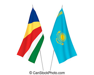 Kazakhstan and Seychelles flags - National fabric flags of ...