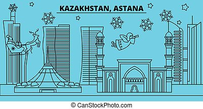 Kazakhstan, Astana winter holidays skyline. Merry Christmas, Happy New Year decorated banner with Santa Claus.Kazakhstan, Astana linear christmas city vector flat illustration
