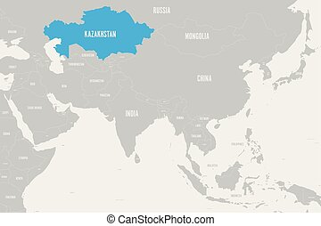 Kazakhstan blue marked in political map of Southern Asia. Vector illustration