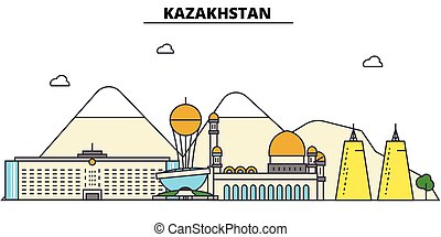 Kazakhstan, . City skyline architecture, buildings, streets, silhouette, landscape, panorama, landmarks. Editable strokes. Flat design line vector illustration concept. Isolated icons set