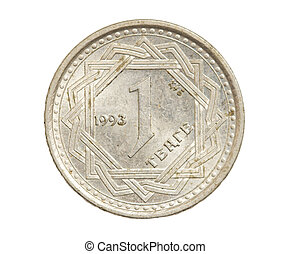 Kazakhstan coin on a white background
