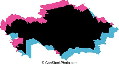 Kazakhstan country silhouette with chromatic aberration ...