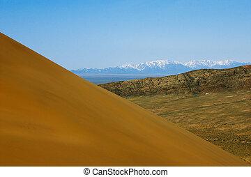 kazakhstan., duinen, nationaal park, altyn-emel, zand, woestijn