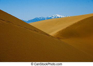 kazakhstan., dyner, nationalparken, altyn-emel, sand, öken