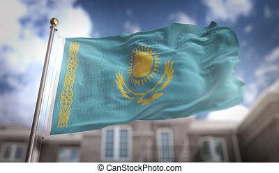 Kazakhstan Flag 3D Rendering on Blue Sky Building Background