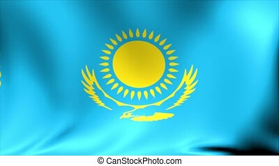 Kazakhstan Flag. Background Seamless Looping Animation. 4K High Definition Video.