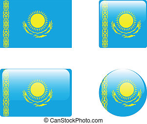 Kazakhstan flag & buttons collection - vector