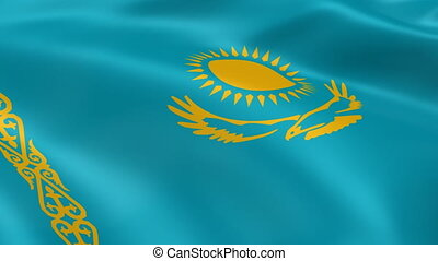 Kazakhstan flag in the wind