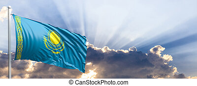 Kazakhstan flag on blue sky. 3d illustration