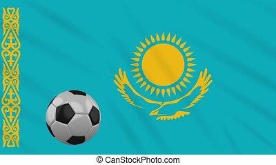 Kazakhstan flag waving and football rotates, loop -...