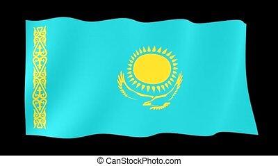Kazakhstan flag . Waving