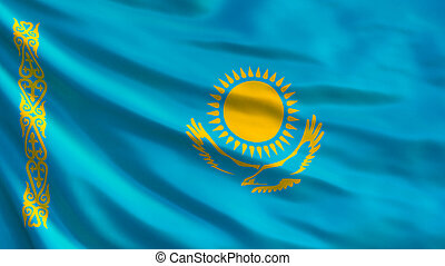 Kazakhstan flag. Waving flag of Kazakhstan 3d illustration