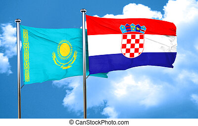 Kazakhstan flag with Croatia flag, 3D rendering