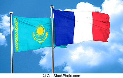 Kazakhstan flag with France flag, 3D rendering