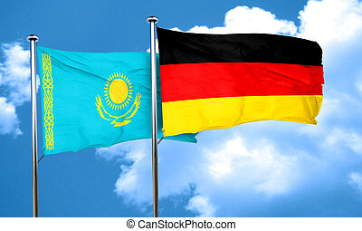 Kazakhstan flag with Germany flag, 3D rendering