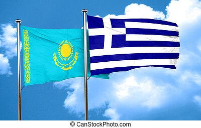 Kazakhstan flag with Greece flag, 3D rendering