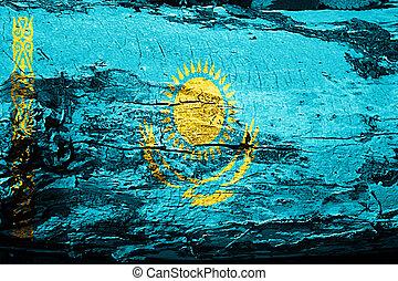 Kazakhstan flag with grunge texture