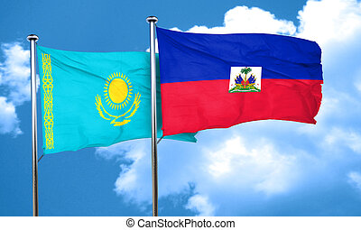 Kazakhstan flag with Haiti flag, 3D rendering