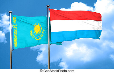Kazakhstan flag with Luxembourg flag, 3D rendering