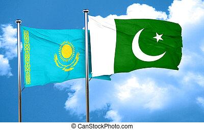 Kazakhstan flag with Pakistan flag, 3D rendering