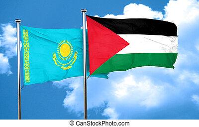 Kazakhstan flag with Palestine flag, 3D rendering