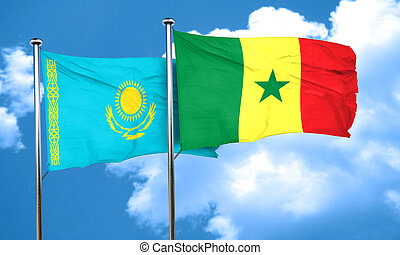 Kazakhstan flag with Senegal flag, 3D rendering