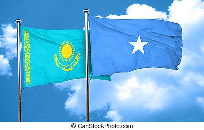Kazakhstan flag with Somalia flag, 3D rendering