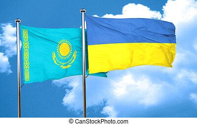 Kazakhstan flag with Ukraine flag, 3D rendering