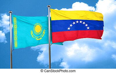 Kazakhstan flag with Venezuela flag, 3D rendering