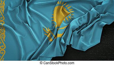 Kazakhstan Flag Wrinkled On Dark Background 3D Render