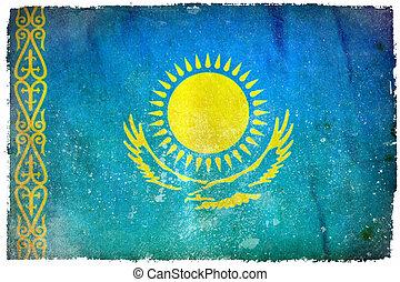 Kazakhstan grunge flag