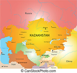 kazakhstan - Vector detailed kazakhstan country map