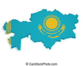Shape 3d of Kazakhstan flag and map isolated on white background.