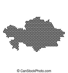 Kazakhstan map abstract schematic from black triangles repeating pattern geometric background with nodes. Vector illustration.
