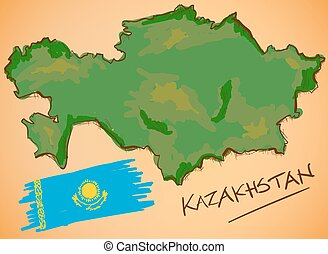 Kazakhstan Map and National Flag Vector