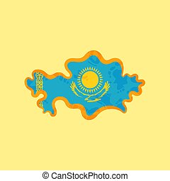 Kazakhstan - Map colored with Kazakhstani flag