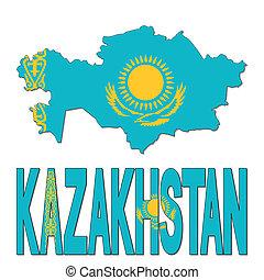 Kazakhstan map flag and text