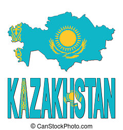 Kazakhstan map flag and text