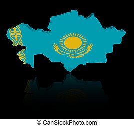 Kazakhstan map flag with reflection illustration