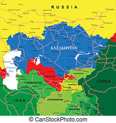 Kazakhstan Map - Highly detailed vector map of Kazakhstan...